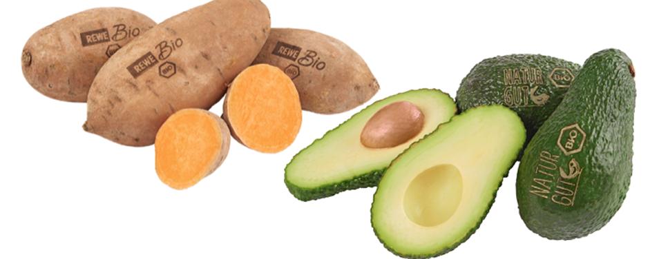 Rewe Laser-Label Obst Gemüse Bio