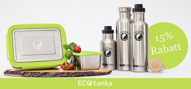 15% Rabatt auf plastikfreie Trinkflaschen und Lunchboxen von Ecotanka