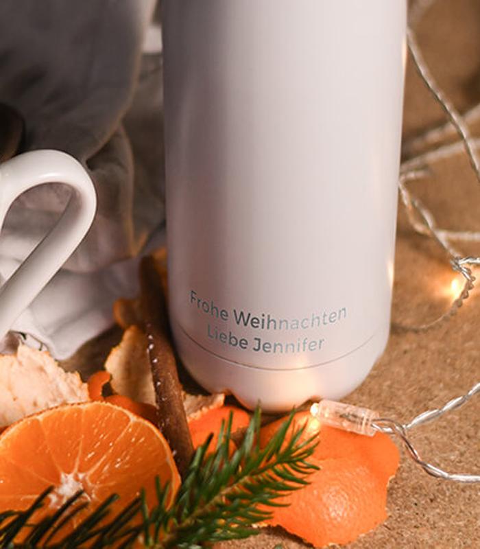 Idee für Weihnachten: Gravierte Trinkflasche von FLSK