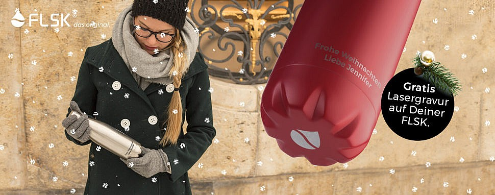 Gravierte Trinkflasche von FLSK – Weihnachtsidee
