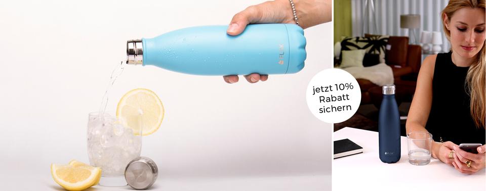 10 % Rabatt auf nachhaltige Trinkflaschen von FLSK