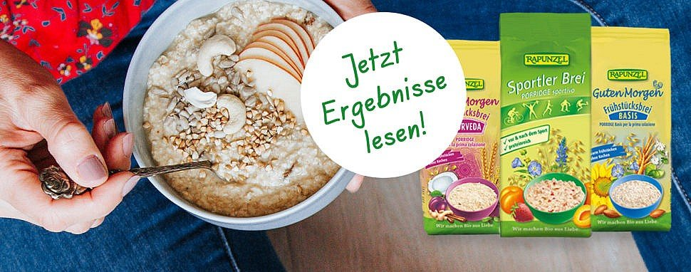 Ergebnisse des Produkttests mit Rapunzel – Frühstücksbrei, ein gesundes Frühstück