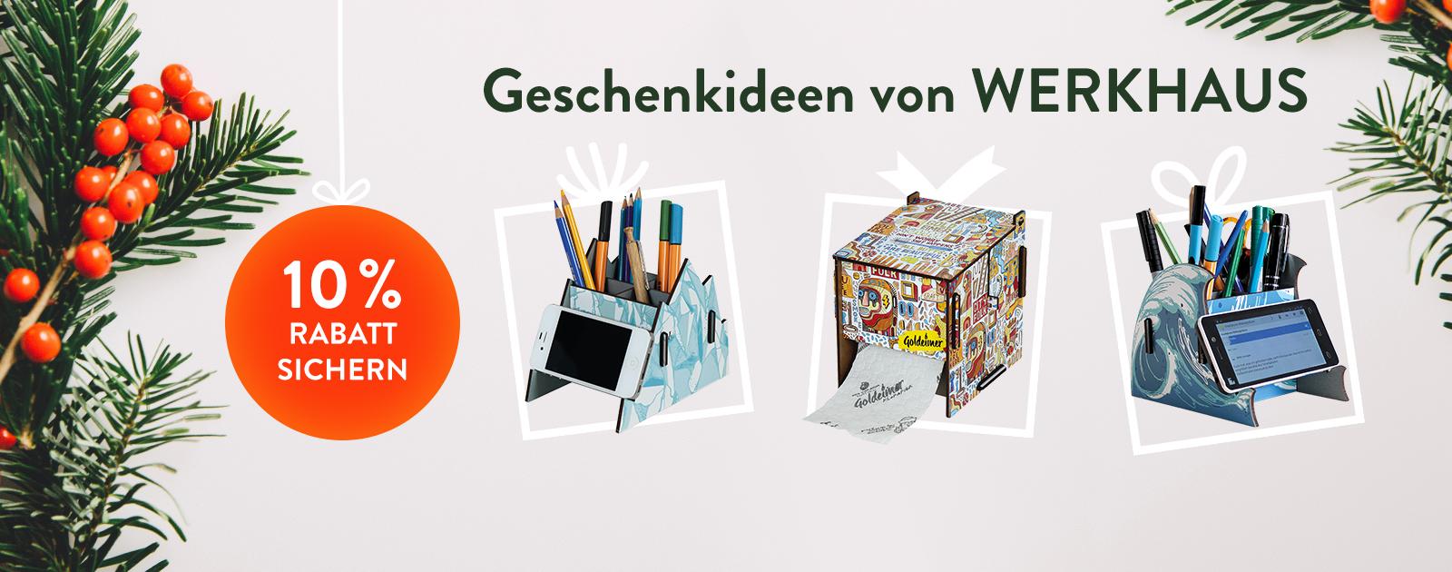 10 % Rabatt auf coole Weihnachtsgeschenke von WERKHAUS sichern!