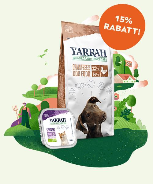 biologisches Tierfutter Hunde Katzen 15 % Rabatt sichern Yarrah Organic Petfood