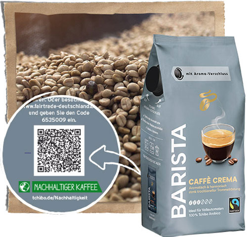Tchibo Fairtrade Kaffee Barista mit Transparenz Code